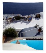 Views Of Santorini Greece Fleece Blanket