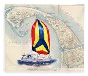 39 Foot Beneteau Cape Cod Chart Art Fleece Blanket
