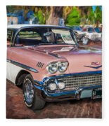 1958 Chevrolet Bel Air Impala Painted  Fleece Blanket