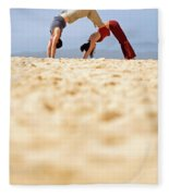 A Man And Woman Practicing Yoga Fleece Blanket