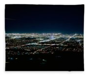Aerial View Of A City Lit Up At Night Fleece Blanket