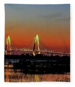 Arthur Ravenel Bridge Orange Glow Fleece Blanket