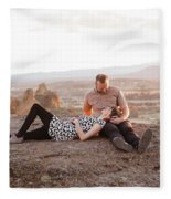 Engaged Couple At Smith Rock In Oregon Fleece Blanket
