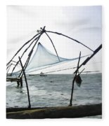 Fishing Nets On The Sea Coast In Alleppey Fleece Blanket