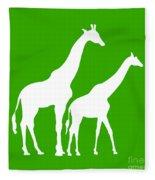 Giraffe In Green And White Fleece Blanket