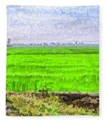 Green Fields With Birds Fleece Blanket