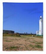 Hurst Point Lighthouse Fleece Blanket
