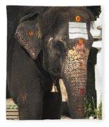Lakshmi Temple Elephant Fleece Blanket