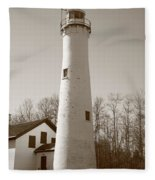 Lighthouse - Sturgeon Point Michigan Fleece Blanket