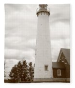 Lighthouse - Tawas Point Michigan Fleece Blanket