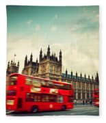 London Uk Red Bus In Motion And Big Ben Fleece Blanket