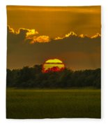 Lowcountry Sunset Over The Marsh Fleece Blanket