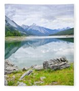 Mountain Lake In Jasper National Park Fleece Blanket