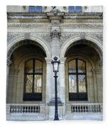 Ornate Architectural Artwork On The Buildings Of The Musee Du Louvre In Paris France Fleece Blanket