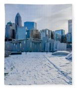 Rare Winter Scenery Around Charlotte North Carolina Fleece Blanket
