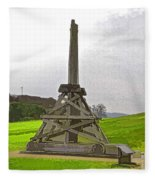 Replica Of Wooden Trebuchet And The Ruins Of The Urquhart Castle Fleece Blanket