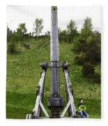 Replica Of Wooden Trebuchet On The Path Leading To The Urquhart Castle Fleece Blanket