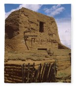Ruins Of The Pecos Pueblo Mission Fleece Blanket