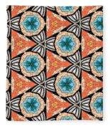 Seamlessly Tiled Kaleidoscopic Mosaic Pattern Fleece Blanket
