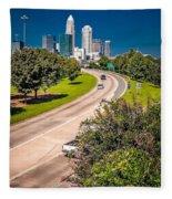 Skyline Of Uptown Charlotte North Carolina Fleece Blanket