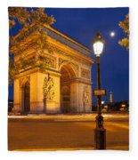 Twilight At Arc De Triomphe Fleece Blanket