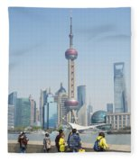 View Of Pudong In Shanghai China Fleece Blanket