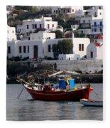 A Boat In The Harbor Of Mykonos Greece Fleece Blanket