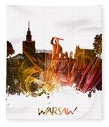 Warsaw City Skyline Fleece Blanket