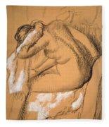 Woman Drying Herself  Fleece Blanket