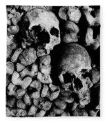 Skulls And Bones In The Catacombs Of Paris France Fleece Blanket