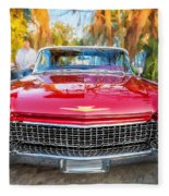 1960 Cadillac Eldorado Biarritz Convertible Painted  Fleece Blanket