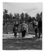 Children Playing Inside The Blair Drummond Safari Park Fleece Blanket