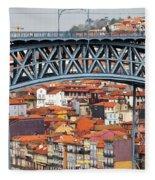 City Of Porto In Portugal Fleece Blanket