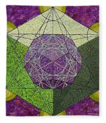 Dodecahedron In A Metatron's Cube Fleece Blanket