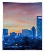 Early Morning Sunrise Over Charlotte City Skyline Downtown Fleece Blanket