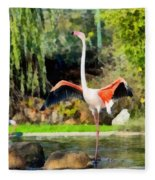 Greater Flamingos Fleece Blanket