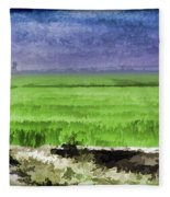 Green Fields With Birds Fleece Blanket