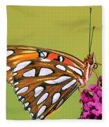 Gulf Fritillary Butterfly Fleece Blanket