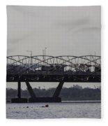 Helix Bridge And Road Bridge Next To Each Other In Singapore Fleece Blanket