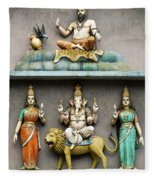 Hindu Temple With Indian Gods Kuala Lumpur Malaysia Fleece Blanket