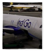 Indigo Aircraft Getting Ready In Changi Airport Fleece Blanket