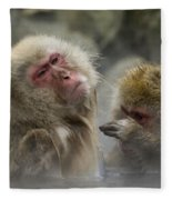 Japanese Macaques Fleece Blanket