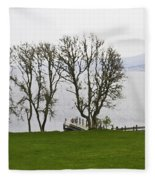 Loch Ness And Boat Jetty Next To Urquhart Castle Fleece Blanket