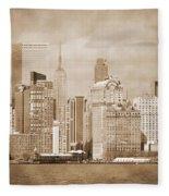 Manhattan Buildings Vintage Fleece Blanket