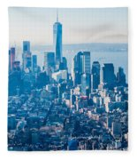 New York City Manhattan Midtown Aerial Panorama View With Skyscr Fleece Blanket