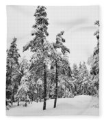 Pine Forest Winter Fleece Blanket
