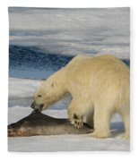 Polar Bear With Fresh Kill Fleece Blanket