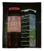 Pudong At Night Fleece Blanket
