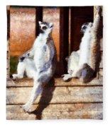 Ring Tailed Lemurs Fleece Blanket