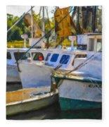 Shrimp Boats Fleece Blanket